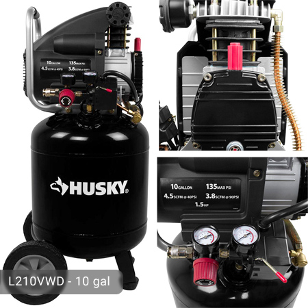 Husky 10 Gallon Portable Air Compressor L210vwd